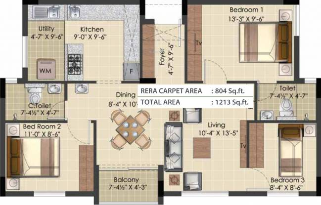 TVS Green Enclave (3BHK+2T (1,213 sq ft) Apartment 1213 sq ft)