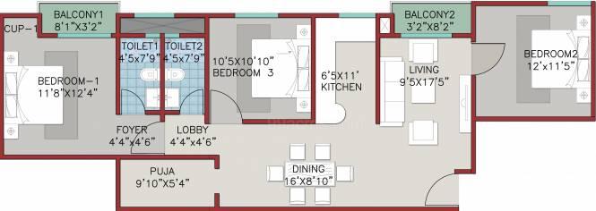 A And A Saffron Garden (3BHK+2T (1,374 sq ft) + Pooja Room Apartment 1374 sq ft)