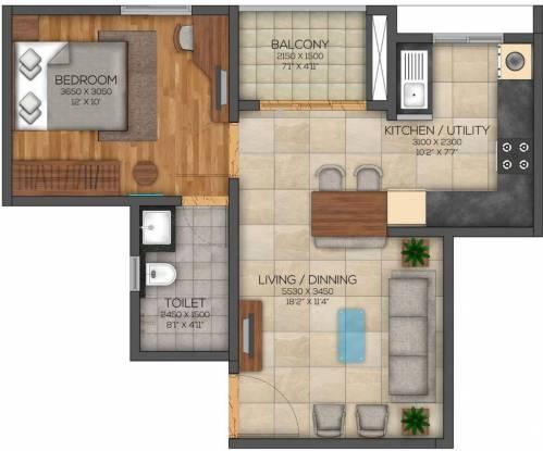 Brigade Eden At Brigade Cornerstone Utopia (1BHK+1T (782 sq ft) Apartment 782 sq ft)