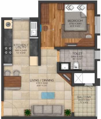Brigade Eden At Brigade Cornerstone Utopia (1BHK+1T (799 sq ft) Apartment 799 sq ft)