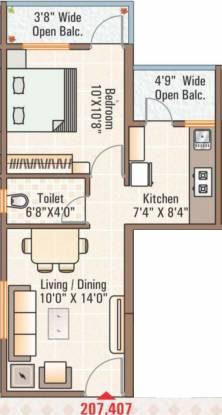 Noble Nakshatra Wing D Phase 1 Part A (1BHK+1T (735 sq ft) Apartment 735 sq ft)