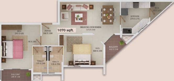 Trinity New Castle (2BHK+2T (1,070 sq ft) Apartment 1070 sq ft)