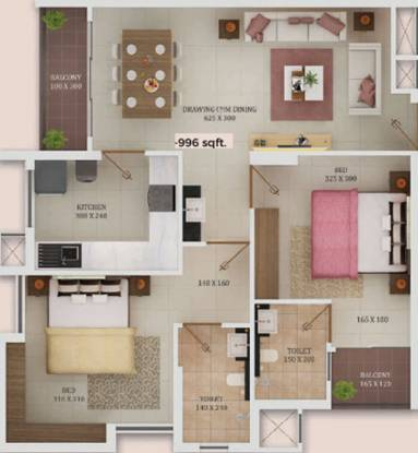Trinity New Castle (2BHK+2T (996 sq ft) Apartment 996 sq ft)