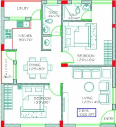 SVL SR Residence (2BHK+2T (1,065 sq ft) Apartment 1065 sq ft)