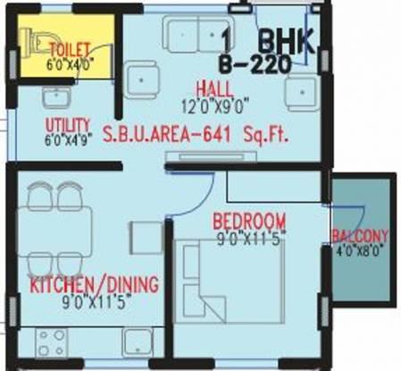Multi Visions Pro Infinate (1BHK+1T (641 sq ft) Apartment 641 sq ft)