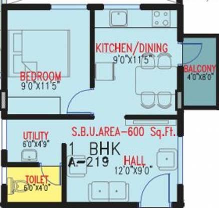Multi Visions Pro Infinate (1BHK+1T (600 sq ft) Apartment 600 sq ft)