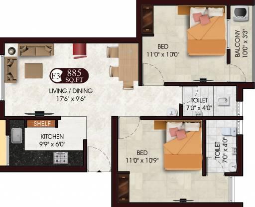 DAC Sarvesh (2BHK+2T (885 sq ft) Apartment 885 sq ft)