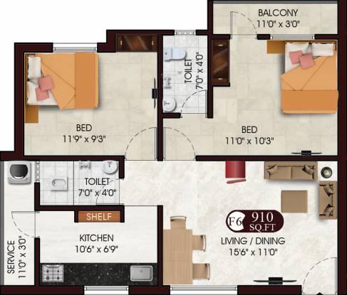 DAC Sarvesh (2BHK+2T (910 sq ft) Apartment 910 sq ft)