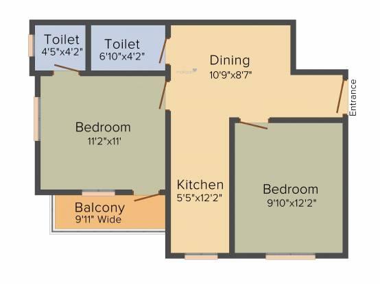 Unique Jagacha Heights (2BHK+2T (737 sq ft) Apartment 737 sq ft)