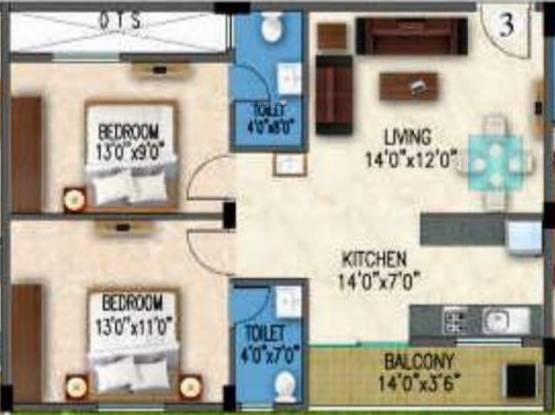Gunina Mellow (2BHK+2T (900 sq ft) Apartment 900 sq ft)
