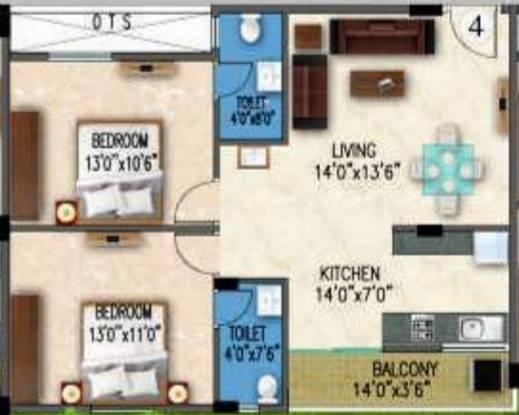 Gunina Mellow (2BHK+2T (961 sq ft) Apartment 961 sq ft)