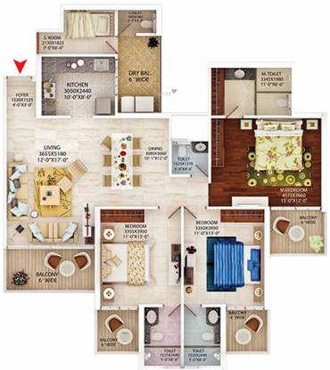 MB Beverly Golf Avenue (3BHK+3T (1,195.34 sq ft) + Servant Room Apartment 1195.34 sq ft)