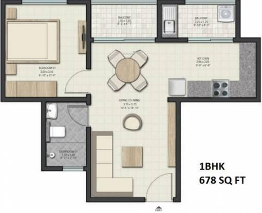 Sobha Dream Gardens (1BHK+1T (678 sq ft) Apartment 678 sq ft)