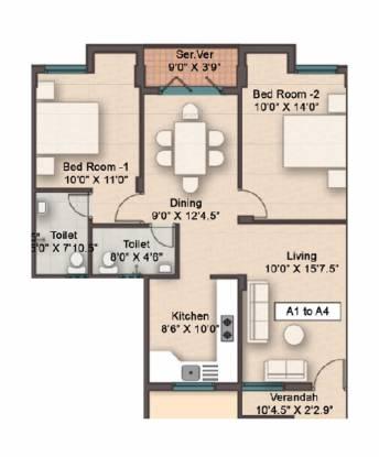 Rajarathnam Eden Crest (2BHK+2T (1,016 sq ft) Apartment 1016 sq ft)