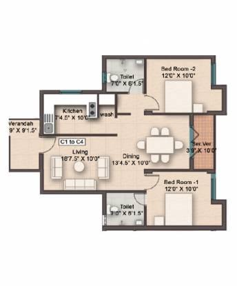 Rajarathnam Eden Crest (2BHK+2T (1,068 sq ft) Apartment 1068 sq ft)
