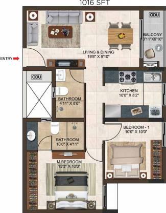 Casagrand Lorenza (2BHK+2T (1,016 sq ft) Apartment 1016 sq ft)