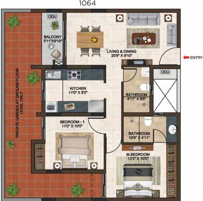 Casagrand Lorenza (2BHK+2T (1,064 sq ft) Apartment 1064 sq ft)