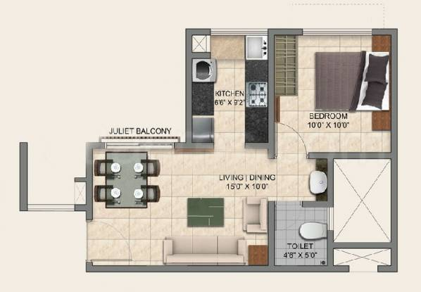 Provident Park Square Phase 2 (1BHK+1T (525 sq ft) Apartment 525 sq ft)