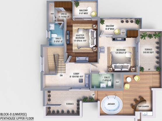 GBP Athens II (4BHK+4T (2,001.98 sq ft) + Servant Room Apartment 2001.98 sq ft)