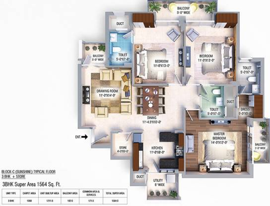 GBP Athens II (3BHK+3T (1,068.00 sq ft) Apartment 1068 sq ft)