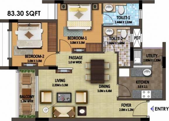 Umiya Quatro Plot B (2BHK+2T (896.63 sq ft) Apartment 896.63 sq ft)