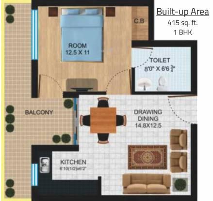 Platinum New Delhi Residency (1BHK+1T (415 sq ft) Apartment 415 sq ft)
