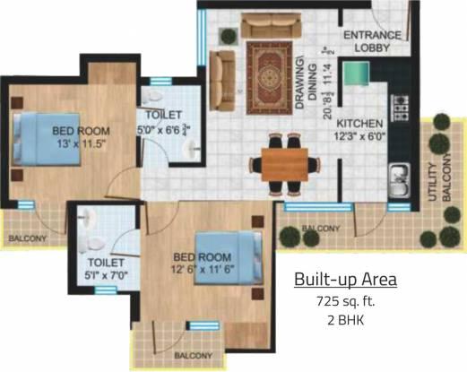 Platinum New Delhi Residency (2BHK+2T (725 sq ft) Apartment 725 sq ft)