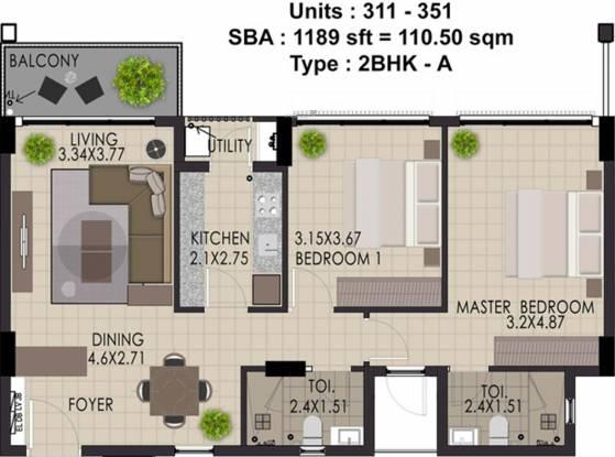 Adventz Zuari Rain Forest Apartment (2BHK+2T (1,189 sq ft) Apartment 1189 sq ft)