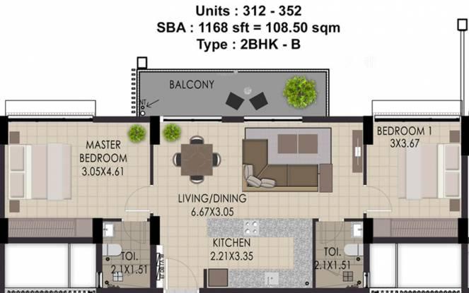 Adventz Zuari Rain Forest Apartment (2BHK+2T (1,168 sq ft) Apartment 1168 sq ft)