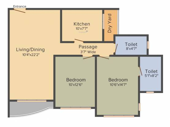 Raheja Acropolis (2BHK+2T (1,245 sq ft) Apartment 1245 sq ft)