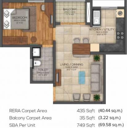 Brigade Eden At Brigade Cornerstone Utopia (1BHK+1T (749 sq ft) Apartment 749 sq ft)