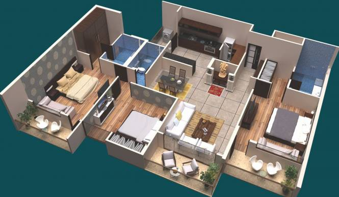 Maze The Residence (3BHK+3T (1,444.42 sq ft) Apartment 1444.42 sq ft)