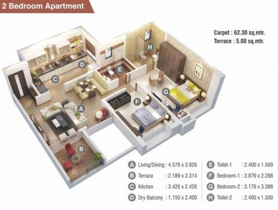 Kumar Picasso O (2BHK+2T (670.59 sq ft) Apartment 670.59 sq ft)