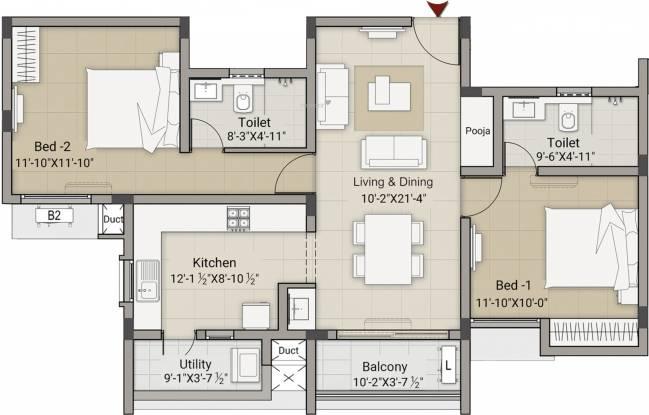 Krishna Meadows (2BHK+2T (1,124 sq ft) Apartment 1124 sq ft)