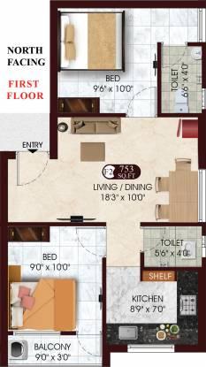 DAC Raayar Kudil (2BHK+2T (753 sq ft) Apartment 753 sq ft)