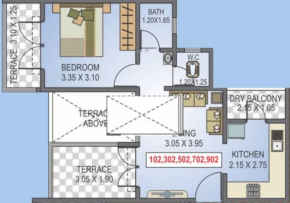 Radhika Srinivasa (1BHK+1T (519.04 sq ft) Apartment 519.04 sq ft)