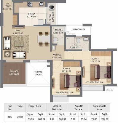 Pride Kingsbury Phase II (2BHK+2T (602.24 sq ft) Apartment 602.24 sq ft)