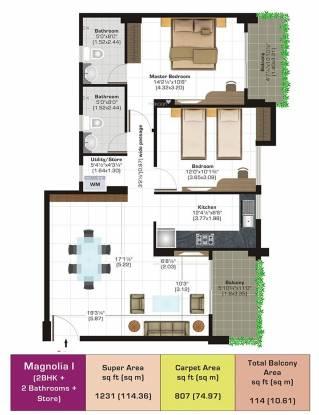 Ashiana Vrinda Gardens (2BHK+2T (806.86 sq ft) Apartment 806.86 sq ft)