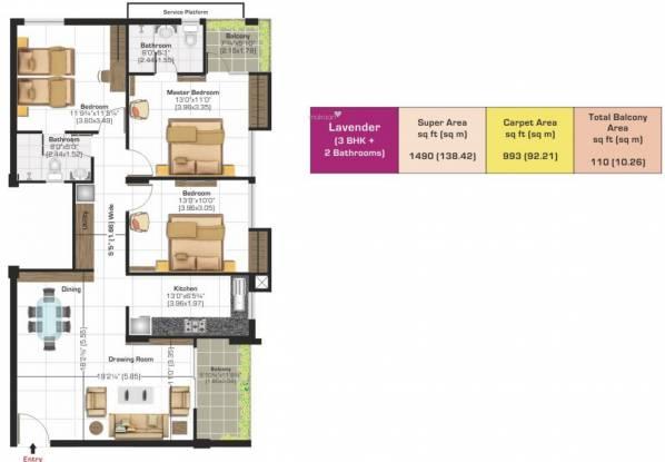 Ashiana Vrinda Gardens (3BHK+3T (992.54 sq ft) Apartment 992.54 sq ft)
