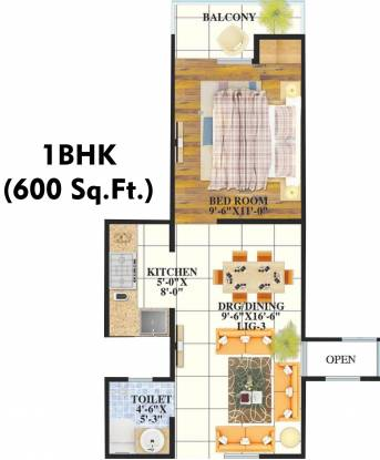 Shri Aashra Unione Residency (1BHK+1T (600 sq ft) Apartment 600 sq ft)