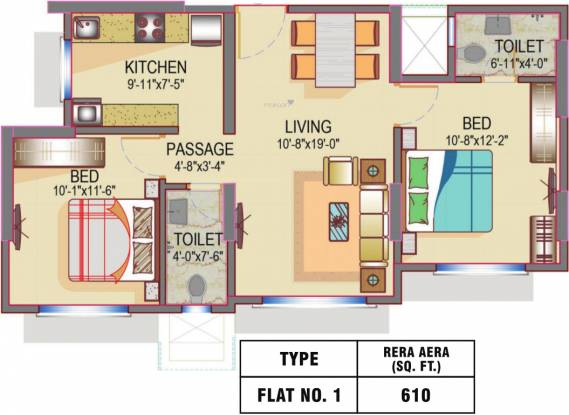 Romell Empress C Wing (2BHK+2T (610 sq ft) Apartment 610 sq ft)