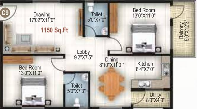 Jeevan Grandeur (2BHK+2T (1,150 sq ft) Apartment 1150 sq ft)