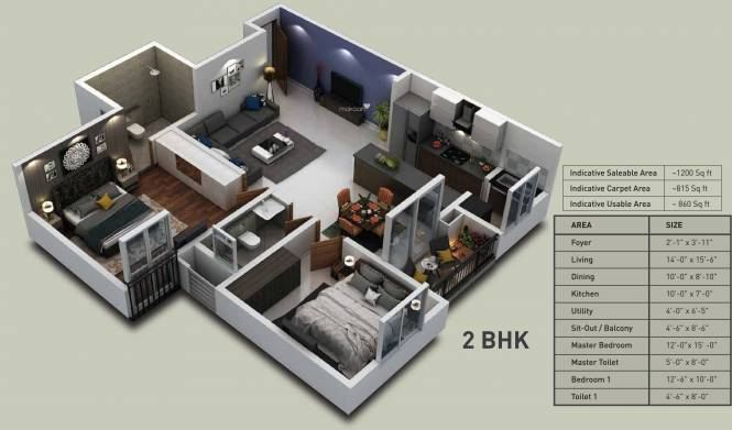 Purva Zenium (2BHK+2T (1,200 sq ft) Apartment 1200 sq ft)