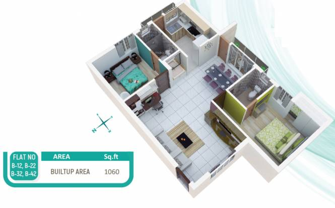 Indira One North (2BHK+2T (1,060 sq ft) Apartment 1060 sq ft)