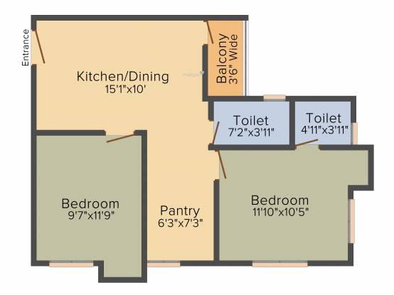 B S Byooklyn (2BHK+2T (825 sq ft) Apartment 825 sq ft)