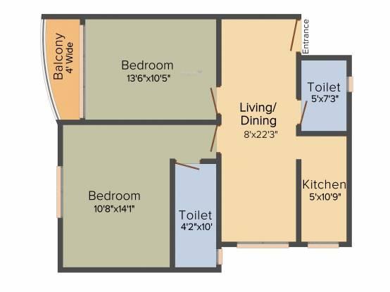 MCK Pratibha Enclave (2BHK+2T (970 sq ft) Apartment 970 sq ft)