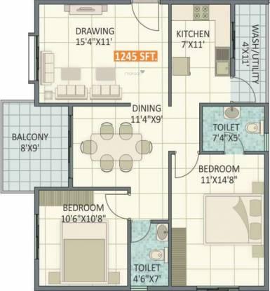 Ruchira Iris (2BHK+2T (1,245 sq ft) Apartment 1245 sq ft)