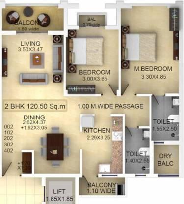 Classic Zion Square 2 (2BHK+2T (1,297.05 sq ft) Apartment 1297.05 sq ft)