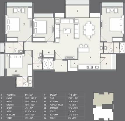 Satyam Skyline II (4BHK+4T (2,692 sq ft) Apartment 2692 sq ft)