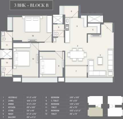 Satyam Skyline II (3BHK+3T (1,891 sq ft) Apartment 1891 sq ft)